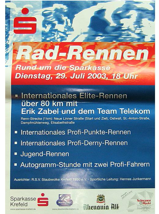 Rad-Rennen Rund um die Sparkasse mit Erik Zabel und dem Team Telekom